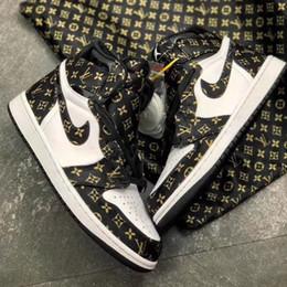 Botas viejas de cuero online-[Mejor calidad Con caja / bolso] zapatos de aire 1 J1 Viejo flor blanca retro Deporte Baloncesto de piel Hight-top Calzado Botas