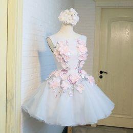 Sweety Tulle A Linha Homecoming Vestidos 2019 3D Floral Lace Applique Frisada Formal Curto Partido Formatura Cocktail Prom Vestidos Com Lace Up de