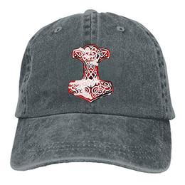 Cappelli all'ingrosso viking online-2019 Nuovo berretto da baseball stampato all'ingrosso Cappello alto Mens cotone lavato berretto da baseball in twill Viking Hammer Norse Hat