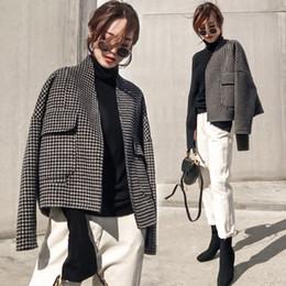 Giacca da donna in lana versione coreana Cappotto sciolto nuovo scozzese femminile Autunno Inverno Plus Size Tasche cardigan Capispalla corta CC277