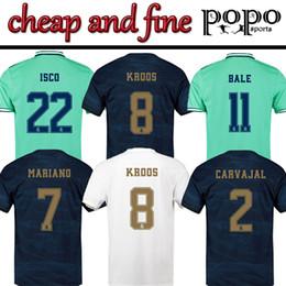 Camisetas de logo online-19/20 Barato España Real Madrid Jersey 8 KROOS 22 ISCO 20 ASENSIO 12 MARCELO Logotipo bordado