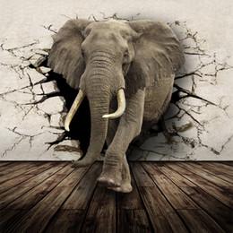 Rhino 3d online-Carta da parati realistica 3D Animal murale personalizzata Rhino Lion Elefanti Tessuto non tessuto per parete New Photo Wallpaper Home Decor