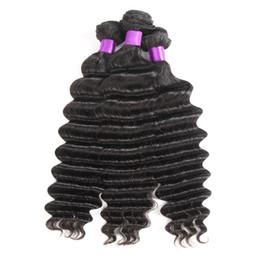 pezzo di chiusura remy dei capelli Sconti Fasci di tessuto brasiliano dei capelli del tessuto dei capelli umani di Remy dell'onda profonda sciolta con i peli peruviani di chiusura 4 pezzi mólto