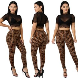 vestiti lunghi per le donne Sconti Donna Luxury Designer 2pcs Tute Estate Crop Top Pantaloni lunghi Ver Nuovi insiemi di abbigliamento Sport