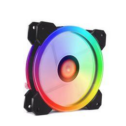 Controlador del ventilador caja de la computadora online-Ventilador RGB PC Fan 12V 6 Pin 12cm Refrigerador enfriador con controlador para computadora Caso de juego silencioso