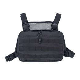 Черный тактический мешок онлайн-Черная мужская грудная сумка Регулируемая тактическая сумка Уличная одежда для хип-хопа Высокопрочный функциональный оксфордский пояс Kanye West 505 C19031801