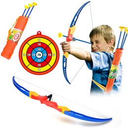 Conjunto de setas de arco plástico on-line-Presentes do aniversário dos meninos de Ano Novo simulação Bow Arrow plástico macio otário seta com alvo definido crianças ao ar livre Esportes Brinquedos Para