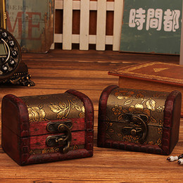 wooden locks Coupons - Retro Cherry Blossom Jewelry Wooden Box Decorative Storage Wooden Box Storage Case Antique Boxes With Lock Photography Props BH2200 CY