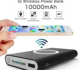 Портативное беспроводное зарядное устройство для мобильных телефонов онлайн-10000mAh универсальный портативный банк питания Ци беспроводное зарядное устройство для iPhone 8 Samsung S6 S7 S8 Powerbank мобильный телефон беспроводное зарядное устройство