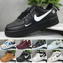 Argentina Nike air force 1 one off white 2019 Men 1 Utility Classic Black White Women Casual Shoes red one Skateboard High Low Cut Entrenadores deportivos Wheaters tamaño 36-45 cheap mid cut running shoes Suministro