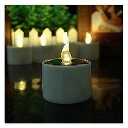 Électronique solaire énergie LED lampe veilleuse jaune scintillement des bougies sans flammes pour le camping en plein air d'urgence fête décoration intérieure 6 pcs ? partir de fabricateur