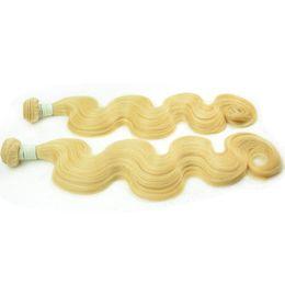 El cabello humano remy euroasiático ruso europeo eurasiático teje 3/4/5 paquetes 613 cuerpo rubio ola cabello crudo virgen doble tramas blanqueadas 12-30 pulgadas desde fabricantes