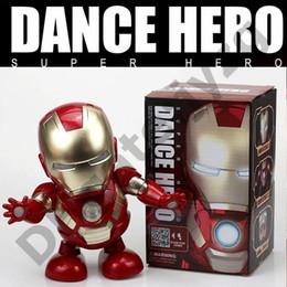 Vingadores super heróis homem de ferro on-line-Em estoque Marvel Avengers Endgame Super Heroes homem de ferro de dança Com led e música Mech Modelo Brinquedos Coleção Action Figure Faz