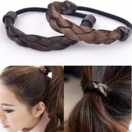 Firkete Kore Saç Halat Halka Elastik Örgülü Tonytail Wrap Hairband Çakma Aksesuarları Sentetik Şapkalar Ponytails Tutucu Saç Takı supplier braided ponytails nereden örme at kuyrukları tedarikçiler