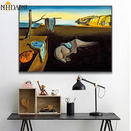 diy ölgemälde pfauen Rabatt Salvador Dali Die Beständigkeit der Erinnerung Uhren Surreal Leinwand-Druck-Malerei-Plakat-Kunst-Wandbilder für Wohnzimmer Wohnkultur