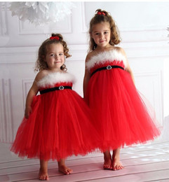 strapless feathers wedding gowns Promo Codes - Cute Feather Red Flower Girl Dresses for Weddings Ball Gown Christmas Dress for Baby Kids Pageant Dress for communion dresses