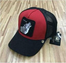 NOVA Goorin. Animal fazenda Trucker Snapback chapéu de basebol LONE WOLF-Black red de