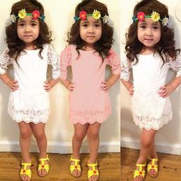 vestiti di estate bianchi lunghi delle ragazze dei bambini Sconti Pudcoco 2019 Summer Solid Baby Girls Kids Princess Manica lunga Pizzo Bianco Rosa Fiore Party Tutu Pizzo Abito corto Primavera