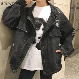damen jacke koreanischen stil Rabatt Jacken Frauen Loch Einfache Retro Korean Style Hohe Qualität Taschen Frauen 2019 Frühling Weiche Damen Harajuku Streetwear Allgleiches