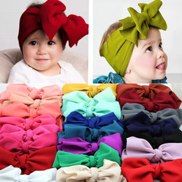 baby bow headwrap Promo Codes - Big Bow Headwrap One Size Fits All Baby Girls Bow Headband Children Fabric Headbands Bebes Over Sized Knot Headwraps Turban