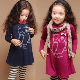 Vestido de coruja on-line-Meninas do bebê coruja vestido princesa verão manga longa mini vestido 2 cores para o vestido das meninas do bebê