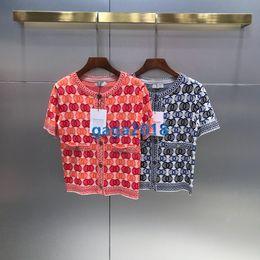 haut de gamme femmes filles tricoté tee col ras du cou cardigan casual vintage tricot t-shirt à manches courtes tops chemisier été milan robe de piste ? partir de fabricateur