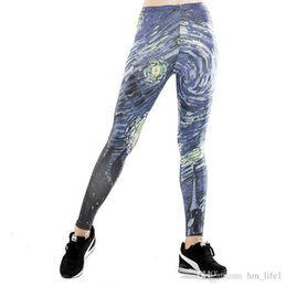 4908a8f87ab4b1 Women Yoga trousers pants Tights trousers Female High waist dance active  Leggings printing Cosmic vortex Skinny silm motion Fitness