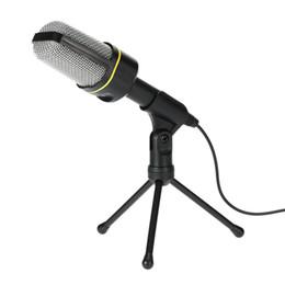 Micrófono de grabación para pc online-Profesional Condensador USB Micrófono de estudio Micrófonos de sonido Trípode de grabación para KTV Karaoke Laptop PC PC de escritorio