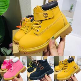 botas de cuero negro chicos Rebajas Marca de la madera de 6 pulgadas niño de los cabritos los cargadores clásicos de cuero impermeables de las muchachas de los zapatos de los diseñadores de trigo Negro Nubuck niños patea el tamaño 26-35