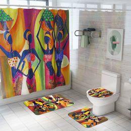 Tappeti da bagno verde online-Cilected 4 Pz / set Stile Esotico Doccia Tenda Tappeto Bagno Impermeabile Tenda Sedile WC Cuscino Slip Tappeto Con 12 Ganci