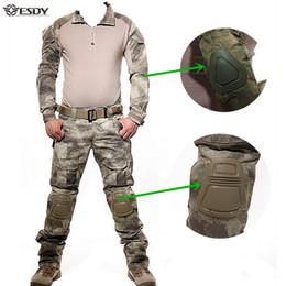 camicie uomo Sconti Uniforme militare tattica mimetica caccia vestiti tuta uomo US Army vestiti camicia da combattimento + pantaloni cargo ginocchiere