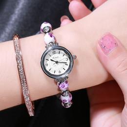 Braccialetti di marca della porcellana online-Retro all'ingrosso realmente di ceramica cinese orologio blu e bianco della porcellana cinese Auspicious modello orologi Bracciali donne di lusso di marca