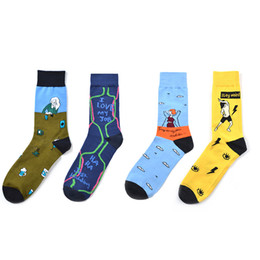 pacchetti di calzini Sconti 4-Pack Men Sock Fun Dress Happy Socks Colorful Crew Socks Cartone animato pattern 04 (41-46 Size)