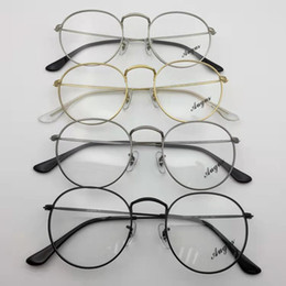 Lente olho negro on-line-3447 v Novo Designer de Óculos de Armações Óticas de Metal Rodada Óculos de Armação Clara lente Eyeware Preto Prata Ouro Olho De Vidro