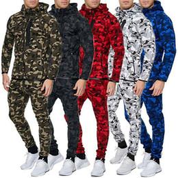 Schwarze rote tarnhose online-Männer Camouflage Anzug Set Langarm-Kapuzenjacke Oberteile Hosen Jogging Sport Schwarz, Blau, Grün, Rot, Weiß