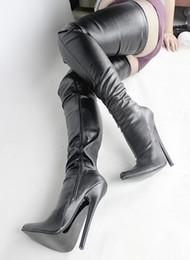 2019 stivali alti stiletto Wonderheel Sexy fetish punta a punta stiletto 18cm tacco a spillo tacchi altissimi di grandi dimensioni sopra il ginocchio stivali alti coscia BDSM CROTCH BOOT sconti stivali alti stiletto