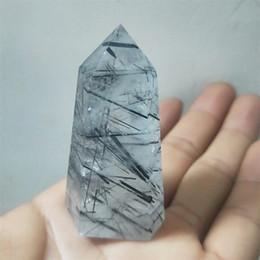 Joyas de turmalina negra online-4-7cm Negro Natural turmalina piedras en un solo punto Forma geométrica Hexaprism Multi Tamaño de piedra curativo para el bricolaje pendiente de la joyería de accesorios 1