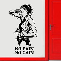 adesivi a parete dandelions Sconti Palestra Sticker murale No Pain No Gain Fitness La motivazione del vinile di arte della decorazione della decorazione della stanza della porta E651 Y200103