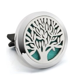gift christmas tree Coupons - New Car Clip Perfume Locket Aromatherapy Jewelry 30mm Life Tree Magnet 316L Stainless Steel Essential Oil Diffuser Vent Clip Drop Shipping