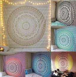 Arazzi a parete online-Mandala indiano arazzo appeso a parete bohemien yoga scialle mat mandala arazzo hippie indiano arazzo kka6820