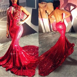 Ricami arabi online-2019 Nuovo collo a V della sirena con ricamo a paillettes Prom Dresses Collo alto Plus Size Backless African Arab Evening Gowns