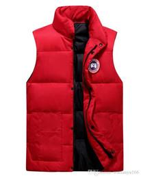 Giubbotto bianco girocollo online-Mens Canada White duck down Goose Jacket Pocket Decoration Mens Designer Winter Coats Personality Mens Winter Down Vest