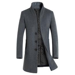 2019 uomini di cappotto di trincea arancione Belle misto lana solido di colore casuale di affari del collare del basamento degli uomini di lana Cappotti / Maschio sottile Windbreaker cappotto Uomo Giacche