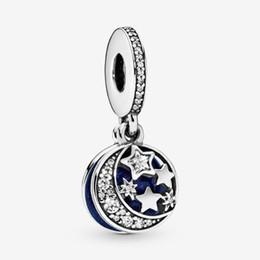 2019 om charme großhandel Neue Ankunfts-100% 925 Sterlingsilber-Mond-blauer Himmel baumelt Charme Fit Original-europäischen Charme-Armband Modeschmuck Accessoires