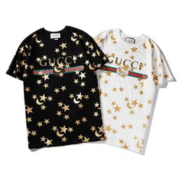 Sterne hemden hip hop kleidung online-Neueste Herrenbekleidung Classic Star Moon Print Kurzarm Herren T-Shirts Modedesigner Hip Hop Herren T-Shirts