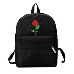 Mochilas negras para chicas adolescentes online-Mochila Mujer Lona Rosa Flor Bordado Estudiante Adolescente Escuela Mochila Bolsa de Viaje Negro