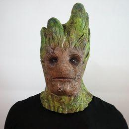 Disfraces de halloween decoraciones online-Guardianes de la galaxia Máscara Cosplay Groot Máscara Fiesta de disfraces Fiesta de Halloween Prop Disfraz Disfraz Látex Decoración artesanal