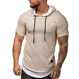 Shorts do hoodie dos homens on-line-Verão Com Capuz Homens T Shirt Moda Manga Curta Com Capuz T Camisas Tops Masculino Magro Tee Fitness Tops Plus Size M-3XL