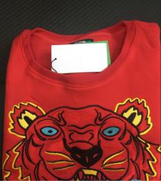 Bordado tigre cabeza suéter hombre mujer alta calidad manga larga O-cuello pullover Sudaderas con capucha sudaderas puente mejor rojo S-XXL desde fabricantes