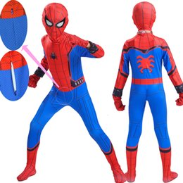 2019 spandex arancio unitard Boy Spiderman Homecoming Suit Costume Bambini Child Spider Man Mask Festa di compleanno Cosplay